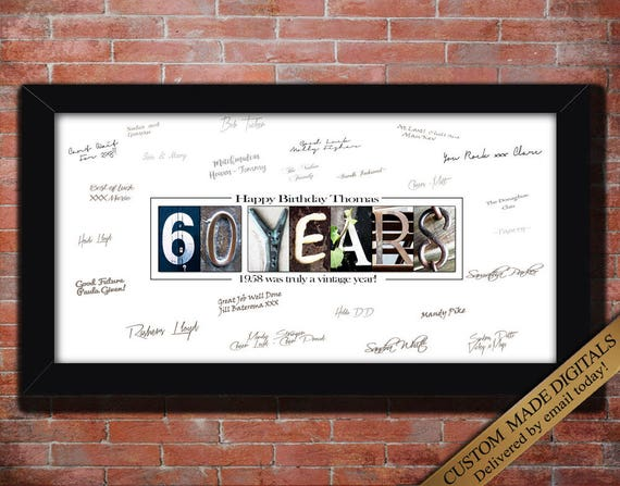 60 Year 60th Birthday Gift Men Women PERSONALIZE Print For Party Custom Guest Book Decorations