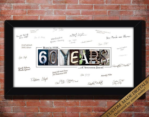 60 Year 60th Birthday Gift Men Women PERSONALIZE Print For