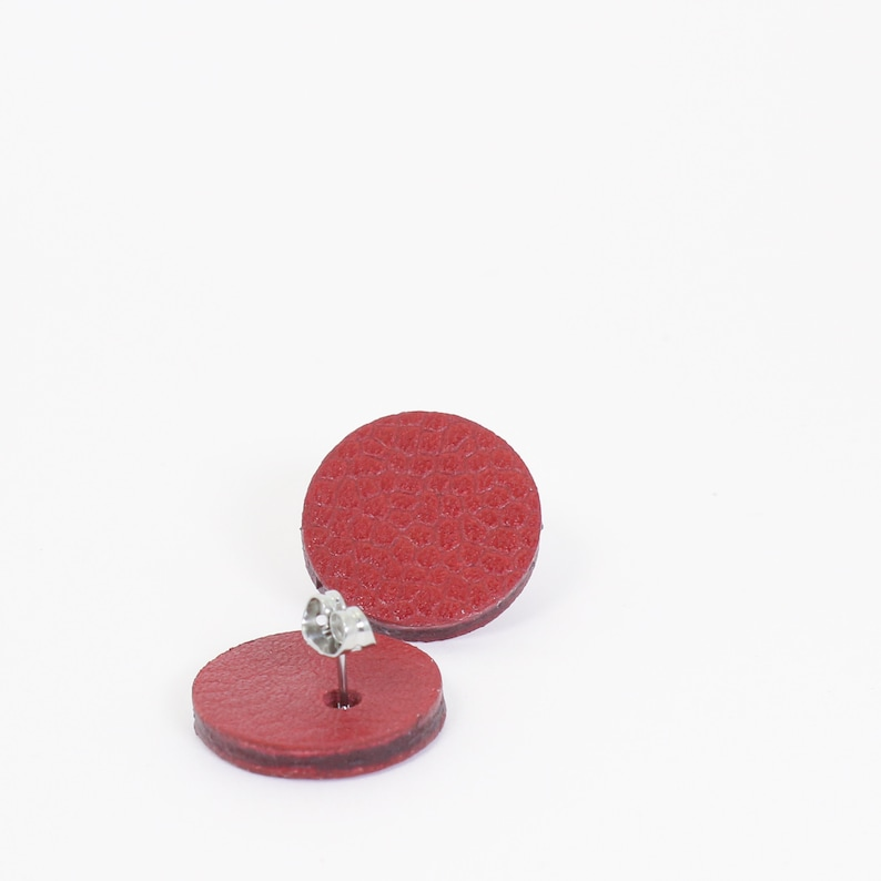 60/'s red leather earrings