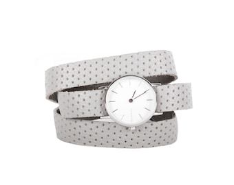 Grey leather women's watch - watch woman curled gray