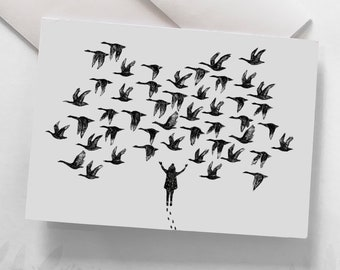"""Wish Card - """"The Geese"""" / Greeting cards / Stationery / Illustration / Artwork / Birds / Geese"""