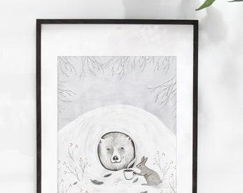 "Large 20x16-inch illustration poster ""The Awakening"" / Print / Illustration / Artwork / Quebec / Bear / Winter"