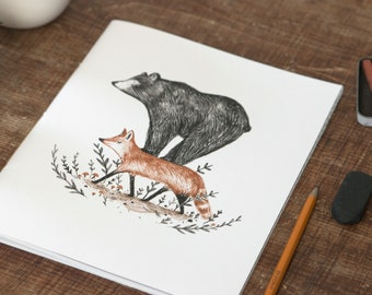 Large notebook - Fox Lift / Journal 8x10 in, Notebook XL, Cahier, Stationery, Fox, Bear, Quebec
