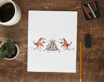 Large notebook - Campfire / Journal 8x10 in, Notebook XL, Cahier, Stationery, Foxes, Quebec