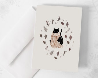 """Wish Card - """"Chat and Autumn"""" / Greeting cards / Stationery / Cat / Fall / Illustration / Artwork / Quebec"""