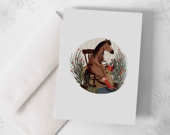 """Wish Card - """"The Horse"""" / Greeting cards / Stationery / Illustration / Artwork / Quebec /Horse / Book"""