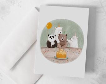 Greeting Card - Happy Birthday / Bear / Cake / Birthday / Greeting cards / Stationery