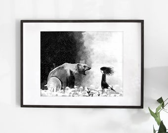 "Large 20x16-inch illustration poster ""The Scream"" / Print / Illustration / Artwork / Quebec / Bear"