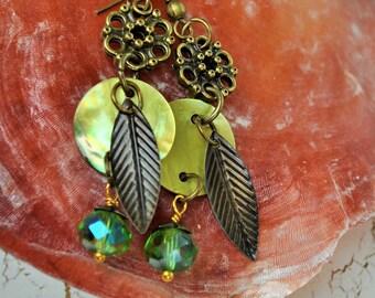 Green Moon & Leaves Earrings