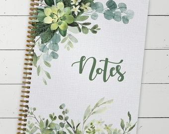 """Softcover Abundant Greenery 8.5"""" x 11"""" Spiral Notebook, 120 College Ruled Pages, Gloss Laminated Cover, Gold Wire-o Spiral. Made in the USA"""