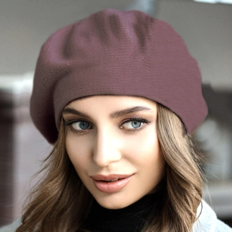 Vegan beret women French chapeau Blue beret acrylic Knitted beret marengo