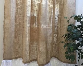 Natural Burlap Shower Curtain With Ruffle Bottom Country Farmhouse Bathroom Decor Curtains Panels