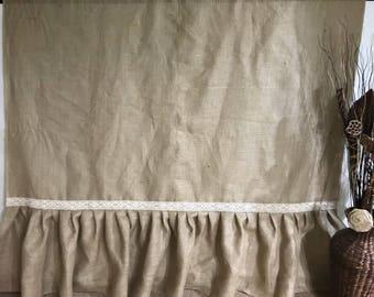 Natural Burlap Shower Curtain Cotton Eyelet Trim Ruffled Bottom Country Farmhouse Bathroom Decor Long Panels Brown Oatmeal Drapes