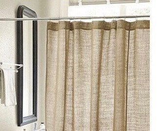 Natural Burlap Shower Curtain Country Farmhouse Bathroom Decor Long Wide Panel