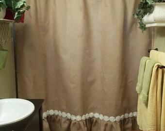 Custom Natural Burlap Shower Curtain With Ruffle Fringe Handmade Rose Trim 72 Wide Panel Country Look Rustic Bathroom Decor Farmhouse Living