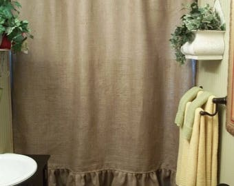 Natural Burlap Shower Curtain With Ruffle Fringe Handmade 72 Wide Panel Country Look Rustic Bathroom Decor Farmhouse