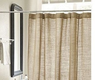 Burlap Shower Curtain Etsy