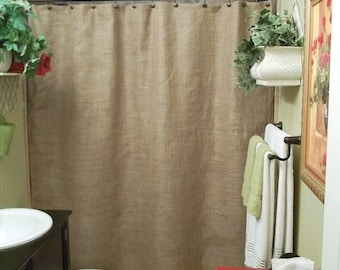 Natural Burlap Shower Curtain Standard Size Country Farmhouse Rustic Bathroom Decor Wide Brown Panel Custom Length Available