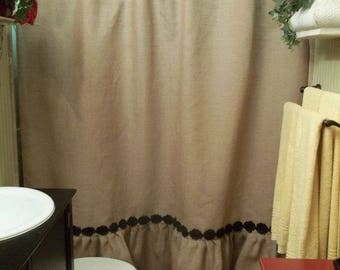 Custom Natural Burlap Shower Curtain With Ruffle Fringe Handmade Rose Trim 72 Wide Panel Country Look Rustic Bathroom Decor Farmhouse Living