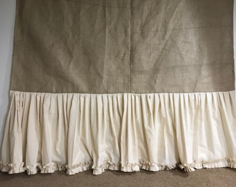 Natural Burlap Shower Curtain Cotton Muslin Ruffle Fringe Handmade 72 Wide Panel Country Look Rustic Bathroom Decor Farmhouse