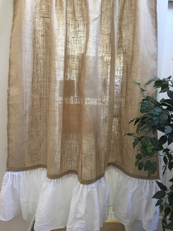 Natural Burlap Shower Curtain With Ruffle Bottom Country