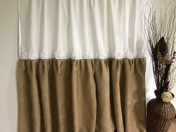 Custom Natural Burlap Shower Curtain With Ruffle Fringe