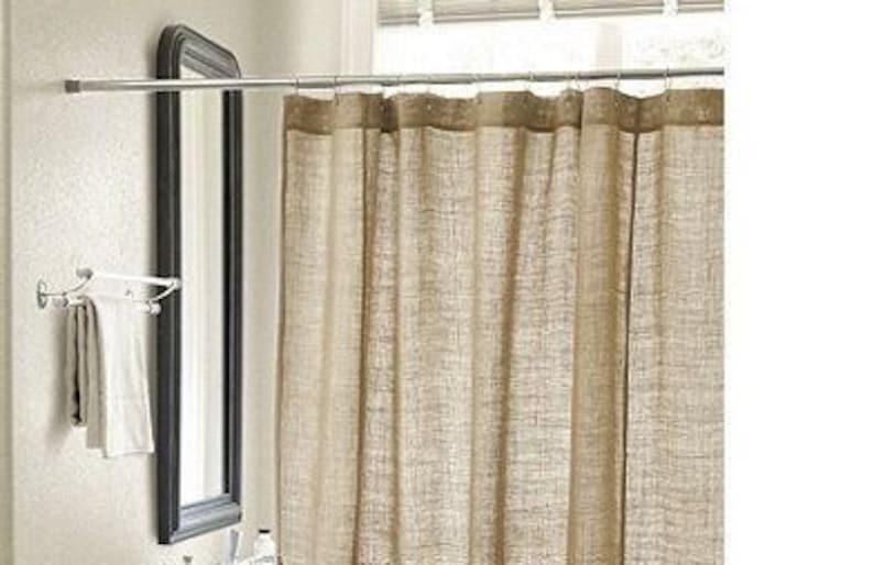 Natural Burlap Shower Curtain Handmade, Burlap Bathroom Decor