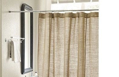 Natural Burlap Shower Curtain Handmade 72 Wide Custom Length Available Button Holes Country Look Rustic Home Decor