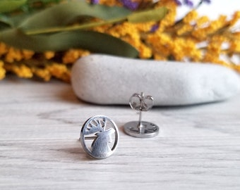 Moose Stud Earrings, Stainless Steel