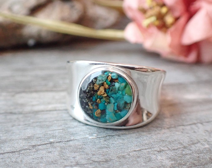 Featured listing image: Alaska Sand and Alaska Gold Ring, Sterling Silver