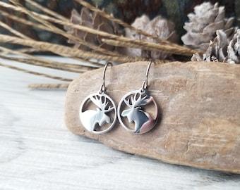 Moose Charm Earrings, Stainless Steel