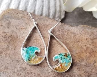 Lake Tahoe, Sterling Silver Wave Earrings