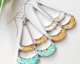 Lake Tahoe, Long Dangle Earrings