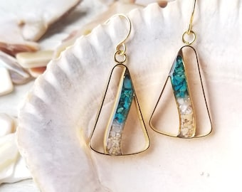 Tropical Waterfall Earrings, Made with Island Sand