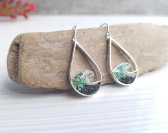 Homer, Alaska Sterling Silver Wave Earrings