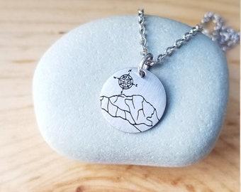 Denali and Compass Rose, Alaska Charm Necklace