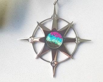 Northern Lights Alaska Ornament, Compass Rose