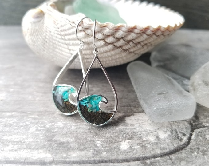 Featured listing image: Nome, Alaska Sterling Silver Wave Earrings