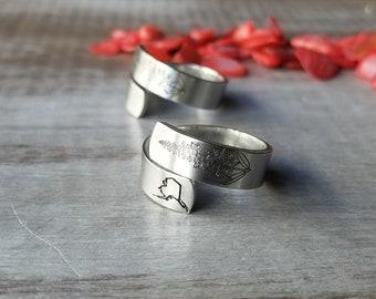 Fireweed Wrap Ring, Pewter