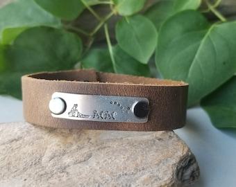 Dog Sled and Big Dipper Leather Bracelet