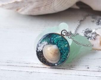Homer, Alaska Sand Necklace with Shell