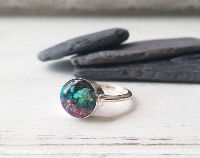 Featured listing image: Northern Lights of Alaska, Sterling Silver Alaska Ring (Size 7)