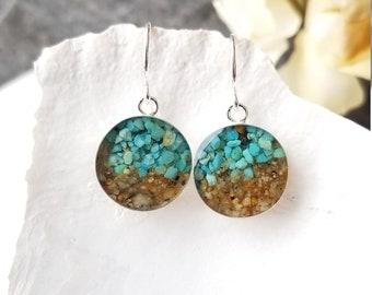 Lake Tahoe Dangle Earrings, Sterling Silver