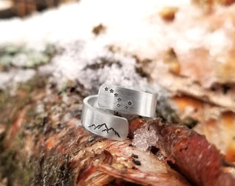 Big Dipper and Mountain Wrap Ring