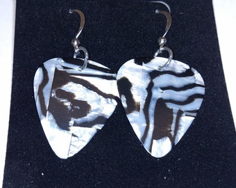 Zebra Stripe Guitar Pick Earrings