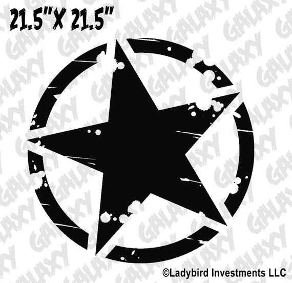 Jeep Wrangler Blackout Hood Decal Army Star Design Matte Black Sticker TJ LJ JK