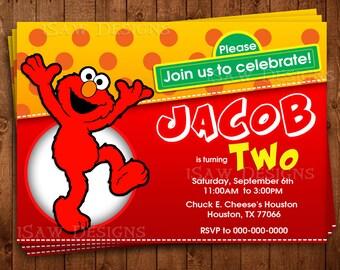 ELMO SESAME STREET Digital Personalized Invitations - Elmo Sesame Street Birthday Party Invitations - Elmo Birthday Party Invites - Elmo