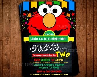 ELMO Digital Personalized Invitations - Sesame Street Chalkboard Birthday Party Invitations - Elmo Sesame Street Invites - Elmo and Abby