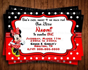 RED MINNIE MOUSE Printed Personalized Invitations