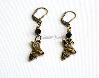Antique Brass Bats Earrings